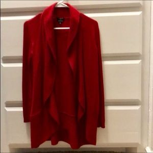 Talbots Red Open Front Waterfall Cardigan Sweater